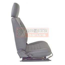 "90""/110"" Front Outer Seat - R/H - Grey Leather -  White Stitch"